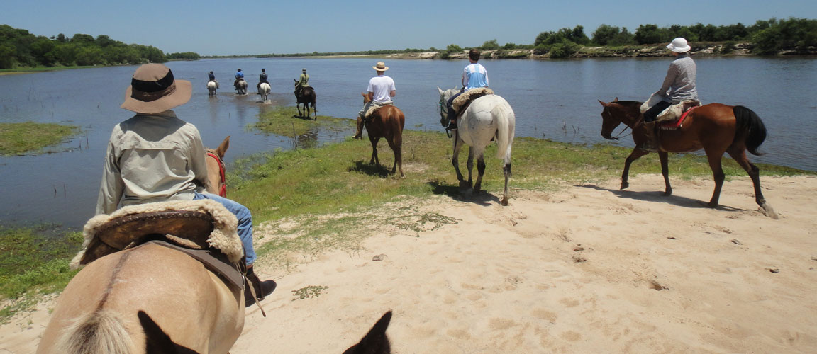 guests riding into river